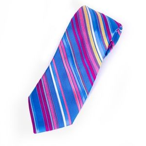 City of London Mens Blue & Pink Striped Neck Tie